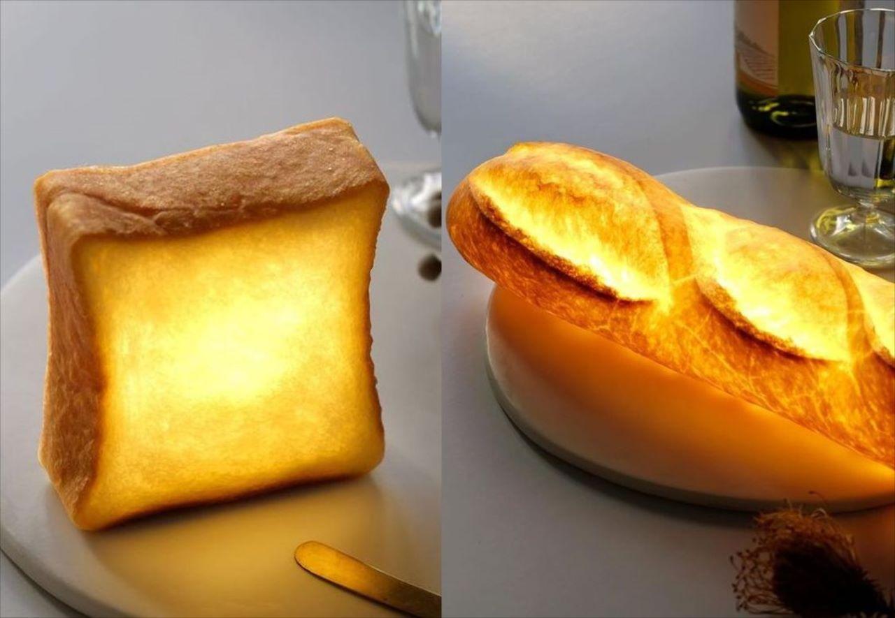 """""""本物のパン""""で作ったライト「パンプシェード」が素敵!制作工程でくり抜いた中身は美味しく食べる"""