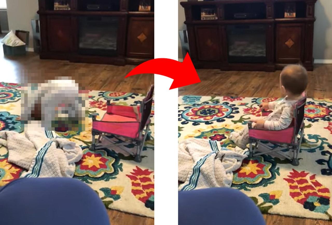 これは斬新な発想!新しい椅子を買って貰った赤ちゃんの座り方の癖が強い!!