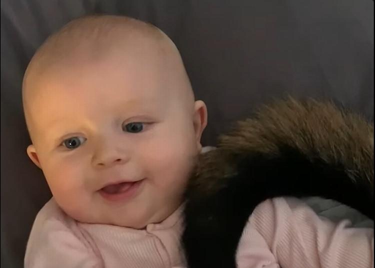 この年にして知ってしまいましたね・・・。ご覧ください、ワンコのしっぽのもふもふと肉球を堪能する赤ちゃんのご満悦なこの表情