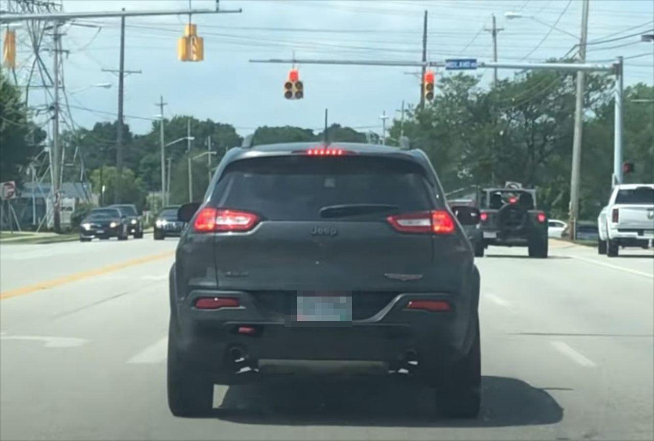 前方の車に乗るワンコがドライブに大興奮!これ以上にないはしゃぎっぷりを見せている!!