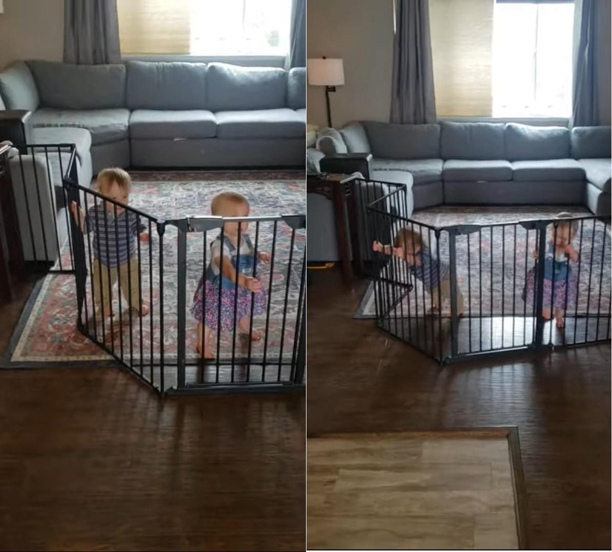 押してダメなら・・・もっと押す!!ベビーゲートを力技で突破する赤ちゃんたち
