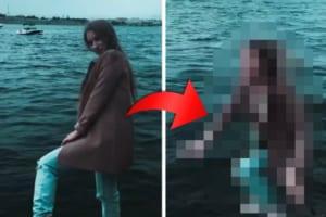 川のほとりでSNS映えする映像を撮ろうとした女性。うっかり足を滑らせて・・・悲劇の瞬間が撮れました